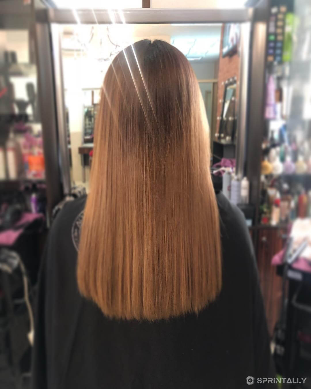 Hair styling with straight cut
