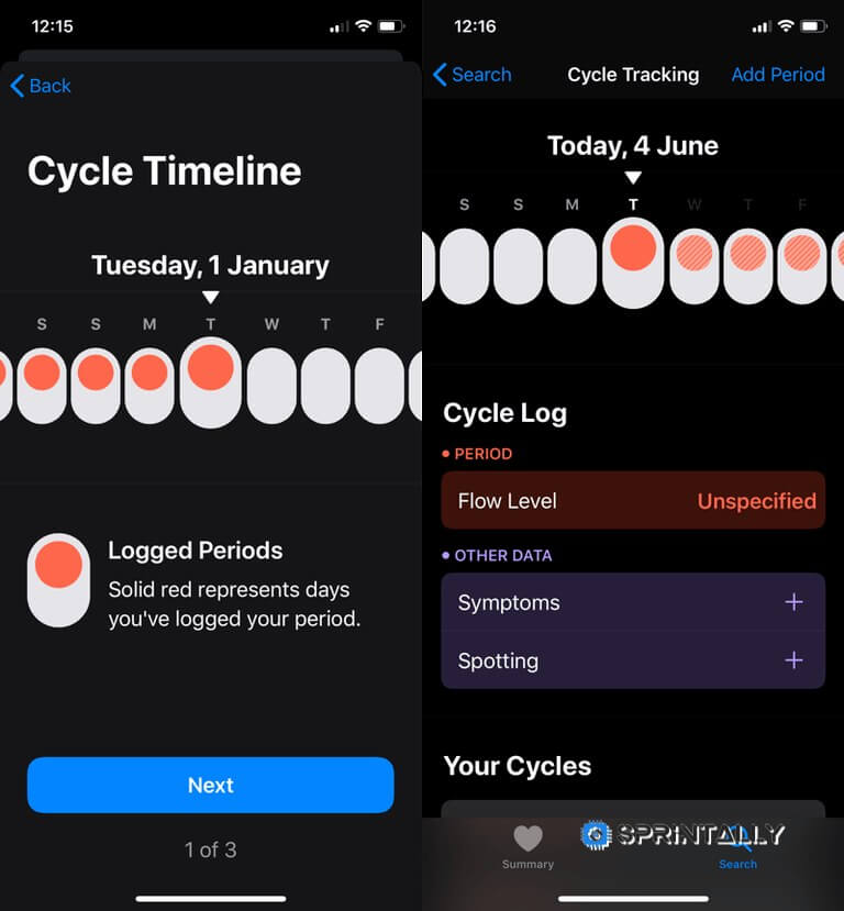 Tracking Menstrual Cycle