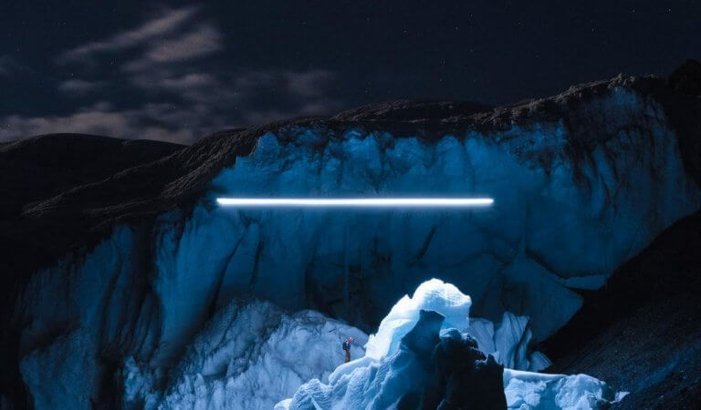 Spectacular beauty of glaciers shot by drones at night