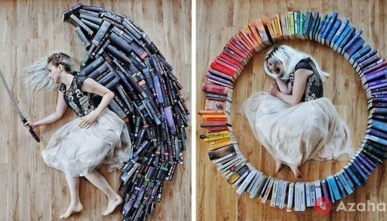 The girl turned her huge library into a fantastic art project