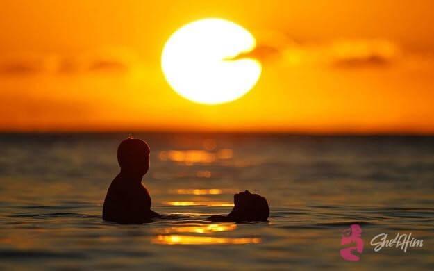 Romantic night date on the beach