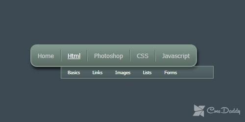 CSS3 horizontal dropdown menu