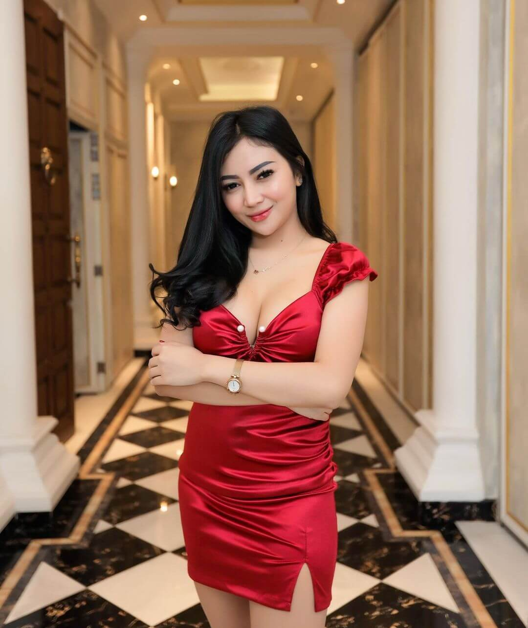 Maria Arra On Red Dress