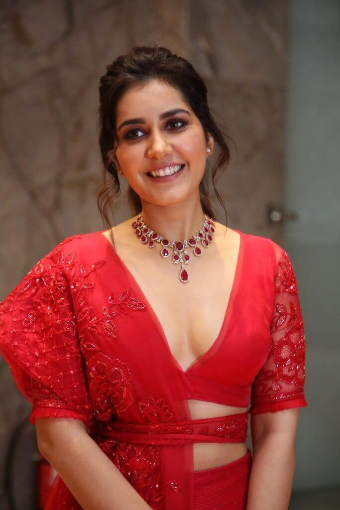 Raashi Khanna In Red Dress At World Famous Lover Pre Release