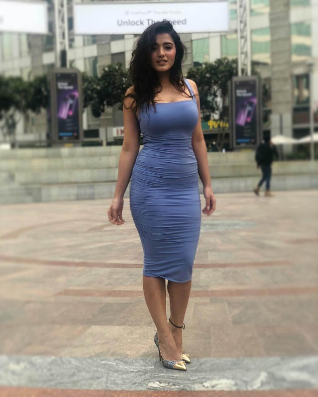 Ketika Sharma On Blue Dress