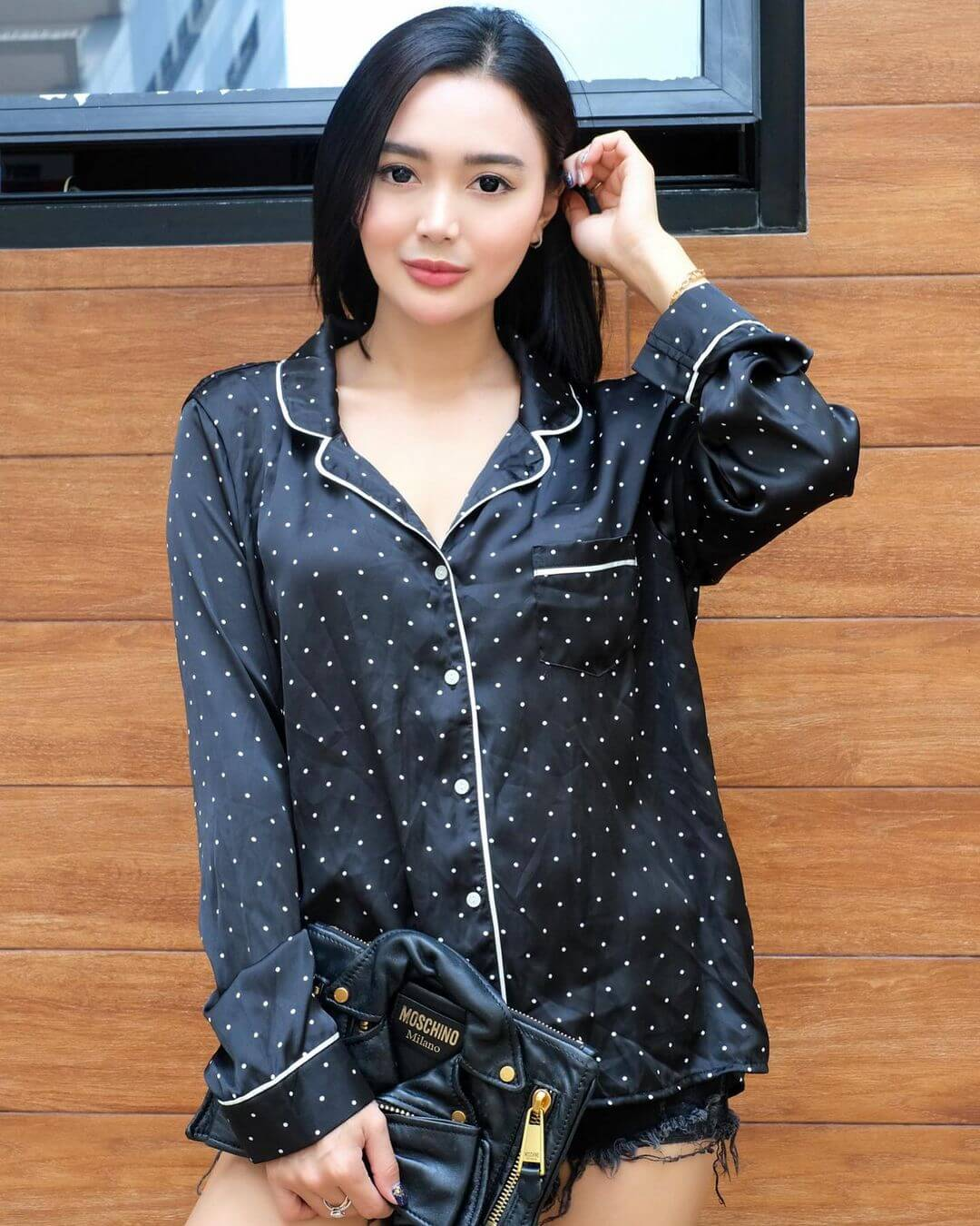 Wika Salim In Black T Shirt