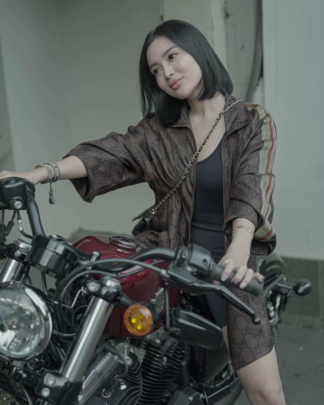 Wika Salim With Her Bike